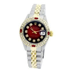Rolex Pre-owned 26mm Womens Custom Red Vignette Two Tone - REF-530X4K