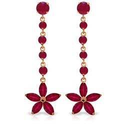 Genuine 4.8 ctw Ruby Earrings Jewelry 14KT Rose Gold - REF-69A6K