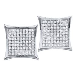 0.23 CTW Diamond Square Cluster Earrings 10KT White Gold - REF-10W5K