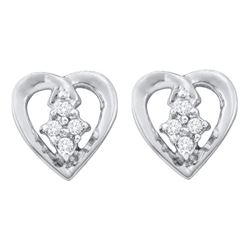 0.08 CTW Diamond Heart Stud Earrings 10KT White Gold - REF-9K7W