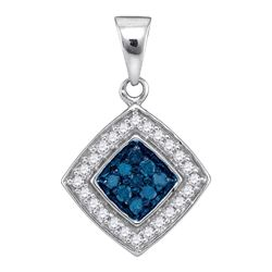 0.25 CTW Blue Color Diamond Diagonal Square Pendant 10KT White Gold - REF-14W9K