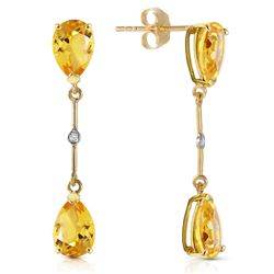 Genuine 6.01 ctw Citrine & Diamond Earrings Jewelry 14KT Yellow Gold - REF-42W4Y