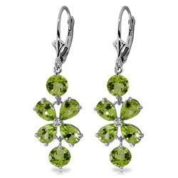 Genuine 5.32 ctw Peridot Earrings Jewelry 14KT White Gold - REF-50T3A