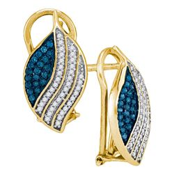 0.45 CTW Blue Color Diamond Oval Cluster Earrings 10KT Yellow Gold - REF-32M9H