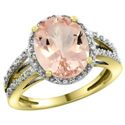 Natural 3.09 ctw Morganite & Diamond Engagement Ring 14K Yellow Gold - REF-77Z7Y