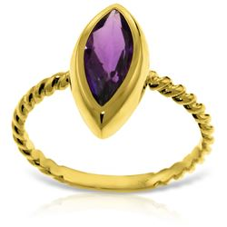 Genuine 1.70 ctw Amethyst Ring Jewelry 14KT Yellow Gold - REF-39W3Y