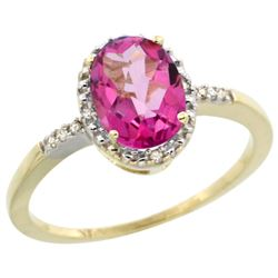 Natural 1.2 ctw Pink-topaz & Diamond Engagement Ring 14K Yellow Gold - REF-23A2V
