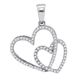 0.20 CTW Diamond Double Heart Love Pendant 10KT White Gold - REF-18M2H