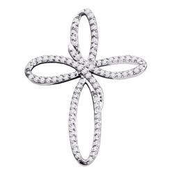 0.25 CTW Diamond Cross Open-center Pendant 10KT White Gold - REF-16N4F