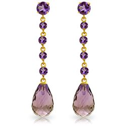 Genuine 23 ctw Amethyst Earrings Jewelry 14KT Yellow Gold - REF-50N6R