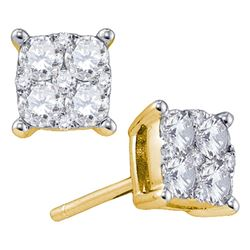 1.55 CTW Diamond Square Cluster Screwback Earrings 18KT Yellow Gold - REF-299K9W