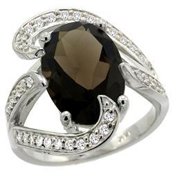 Natural 6.22 ctw smoky-topaz & Diamond Engagement Ring 14K White Gold - REF-134Y9X