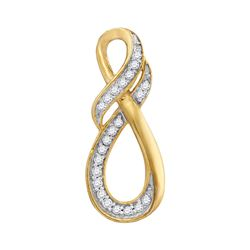 0.08 CTW Diamond Teardrop Infinity Pendant 10KT Yellow Gold - REF-7X4Y
