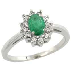 Natural 0.72 ctw Emerald & Diamond Engagement Ring 14K White Gold - REF-49V7F