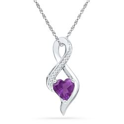 0.05 CTW Created Amethyst Heart Solitaire Infinity Pendant 10KT White Gold - REF-14M9H