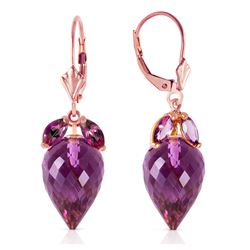 Genuine 20 ctw Amethyst Earrings Jewelry 14KT Rose Gold - REF-51A8K