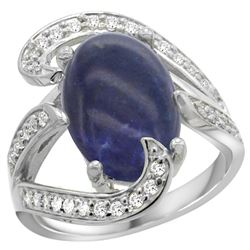 Natural 5.24 ctw lapis-lazuli & Diamond Engagement Ring 14K White Gold - REF-129M4H