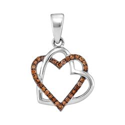 0.25 CTW Cognac-brown Color Diamond Heart Love Pendant 10KT White Gold - REF-16X4Y