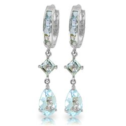 Genuine 5.62 ctw Aquamarine Earrings Jewelry 14KT White Gold - REF-76H2X