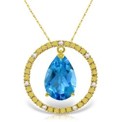 Genuine 6.6 ctw Blue Topaz & Diamond Necklace Jewelry 14KT Yellow Gold - REF-52R9P