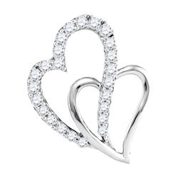 0.37 CTW Diamond Double Heart Love Pendant 10KT White Gold - REF-34M4H