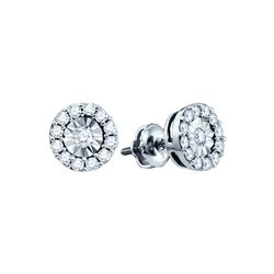0.30 CTW Diamond Illusion-set Solitaire Stud Earrings 10KT White Gold - REF-22H4M