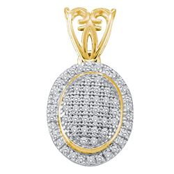 0.20 CTW Diamond Oval Cluster Pendant 10KT Yellow Gold - REF-19X4Y
