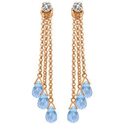 Genuine 10.53 ctw Blue Topaz & Diamond Earrings Jewelry 14KT Rose Gold - REF-34V7W
