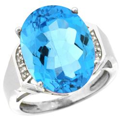 Natural 11.02 ctw Swiss-blue-topaz & Diamond Engagement Ring 14K White Gold - REF-65W8K