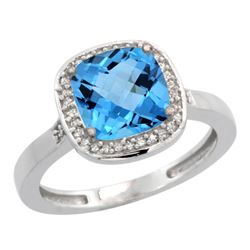 Natural 3.94 ctw Swiss-blue-topaz & Diamond Engagement Ring 14K White Gold - REF-38Y3X