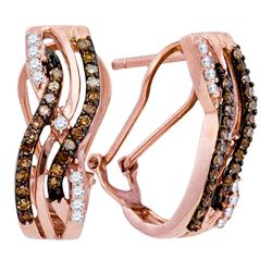 0.50 CTWCognac-brown Color Diamond Hoop Earrings 10KT Rose Gold - REF-30X2Y