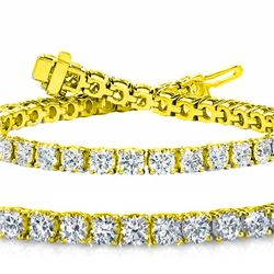 Natural 7.03ct VS-SI Diamond Tennis Bracelet 18K Yellow Gold - REF-672W6N