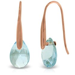 Genuine 6 ctw Blue Topaz Earrings Jewelry 14KT Rose Gold - REF-38X5M