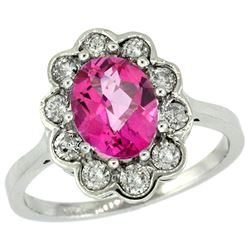 Natural 2.34 ctw Pink-topaz & Diamond Engagement Ring 14K White Gold - REF-81V4F