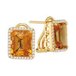 0.32 CTW Cushion Citrine Solitaire Diamond French-clip Earrings 14KT White Gold - REF-94W4K