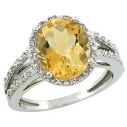 Natural 3.47 ctw Citrine & Diamond Engagement Ring 10K White Gold - REF-34M7H