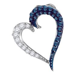 0.25 CTW Blue Color Diamond Heart Love Pendant 10KT White Gold - REF-13M4H
