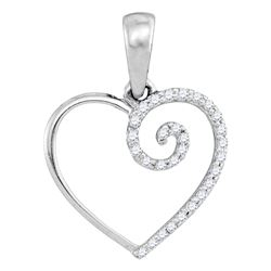 0.11 CTW Diamond Clef Heart Pendant 10KT White Gold - REF-8X2Y