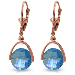 Genuine 6.5 ctw Blue Topaz Earrings Jewelry 14KT Rose Gold - REF-43M4T