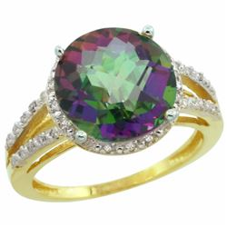 Natural 5.34 ctw Mystic-topaz & Diamond Engagement Ring 10K Yellow Gold - REF-35K4R