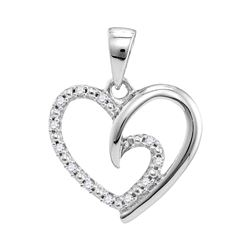 0.10 CTW Diamond Small Heart Love Pendant 10KT White Gold - REF-10H5M
