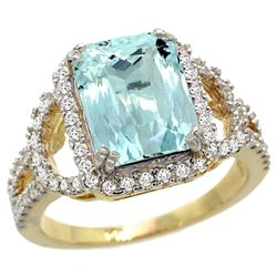 Natural 2.78 ctw aquamarine & Diamond Engagement Ring 14K Yellow Gold - REF-116N5G