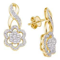 0.99 CTW Diamond Flower Screwback Earrings 14KT Yellow Gold - REF-97F4N
