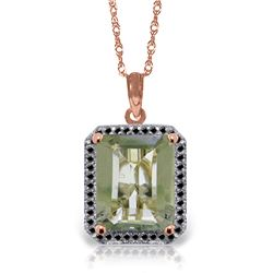 Genuine 5.55 ctw Green Amethyst & Black Diamond Necklace Jewelry 14KT Rose Gold - REF-68Z4N