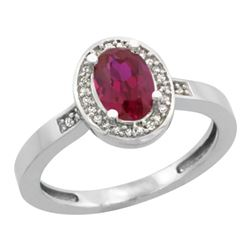 Natural 1.46 ctw Ruby & Diamond Engagement Ring 10K White Gold - REF-25R6Z