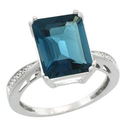 Natural 5.42 ctw London-blue-topaz & Diamond Engagement Ring 14K White Gold - REF-63K6R