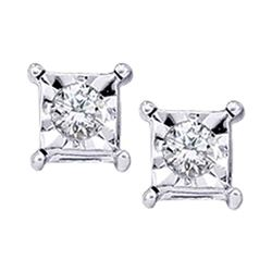 0.05 CTW Diamond Solitaire Square Stud Earrings 10KT White Gold - REF-8F2N