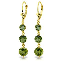 Genuine 7.2 ctw Peridot Earrings Jewelry 14KT Yellow Gold - REF-42X6M