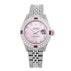 Rolex Pre-owned 26mm Womens Custom Pink Stainless Steel - REF-470H2N