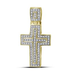 0.25 CTW Mens Diamond Cross Layered Charm Pendant 10KT Yellow Gold - REF-26M9H